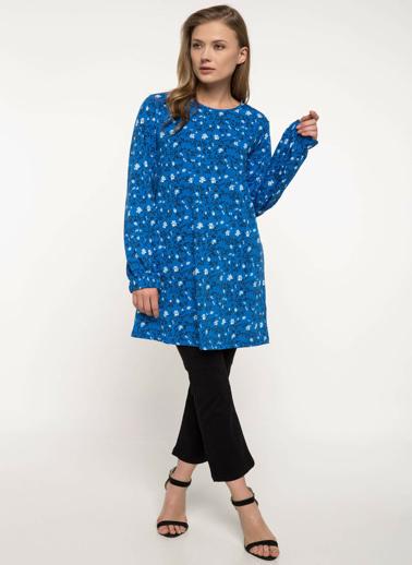 DeFacto Uzun Kollu Çiçek Desenli Tunik Mavi
